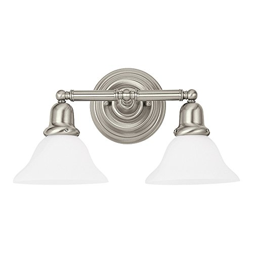 Sea Gull Lighting 44061-962 Sussex Two-Light Bath or Wall Light Fixture with Satin White Glass Shades, Brushed Nickel - Bath Light Two Sussex