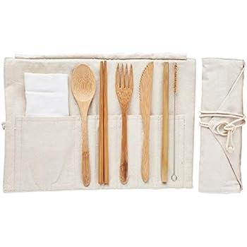Amazon.com: Utensilios de bambú para viaje, utensilios de ...