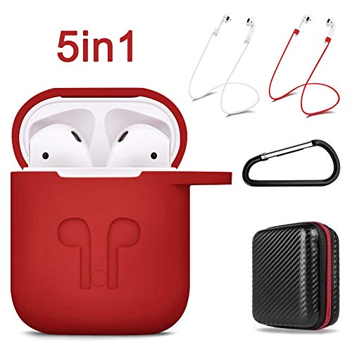 Airpod Case Keychain, 5 in 1 Silicone AirPods Protective Case Cover Accessories with Clip/Keychain/Strap/Hard Storage Bag for Apple Airpod (Classic Red) by - Bags Cases S12