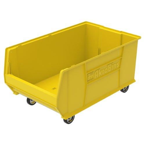 Akro-Mils 30290 Mobile Super Size Plastic Stacking Storage Akro Bin, 29-Inch x 18-Inch x 12-Inch, Yellow