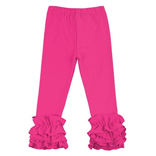 Little Girl's Double Icing Ruffle Leggings Toddler Girl Triple Cotton Boutique Elastic Waist Slacks Joggers Activewear Rose 12-18 Months