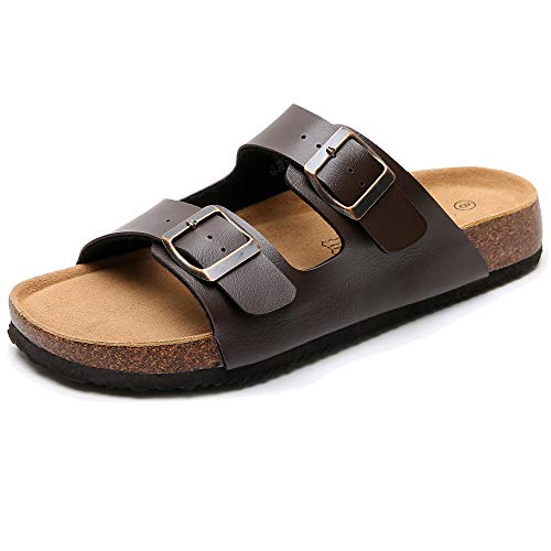 Real Fancy Women's Comfort Arizona 2-Strap Flat Cork Leather Sandals with Double Buckle Soft Cow Suede Open Toe Summer Slide Shoe Brown