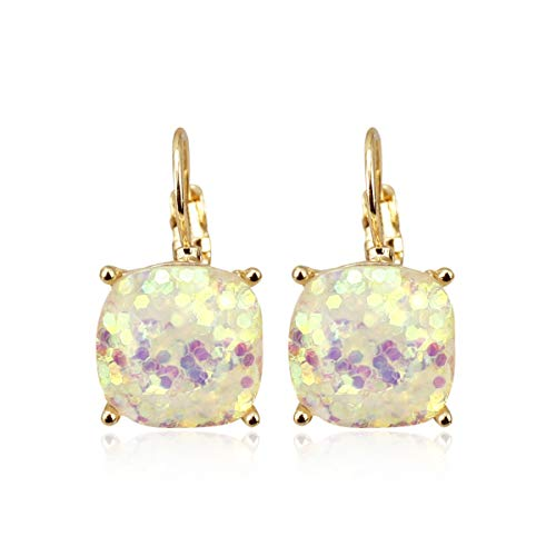 RIAH FASHION Square Glitter Stud Earrings for Women - Sparkly Small Sequin Confetti Lever Back Secure Hook Cushion Drop Dangles (Opal Glitter)
