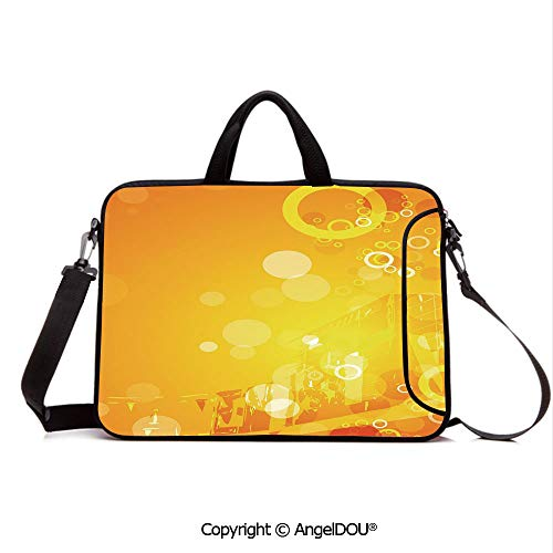 AngelDOU Neoprene Printed Fashion Laptop Bag Abstract Composition with Circles Dots Artistic Energetic Colors Sunburst Decora Notebook Tablet Sleeve Cases Compatible with Lenovo Asus Acer HP Orange