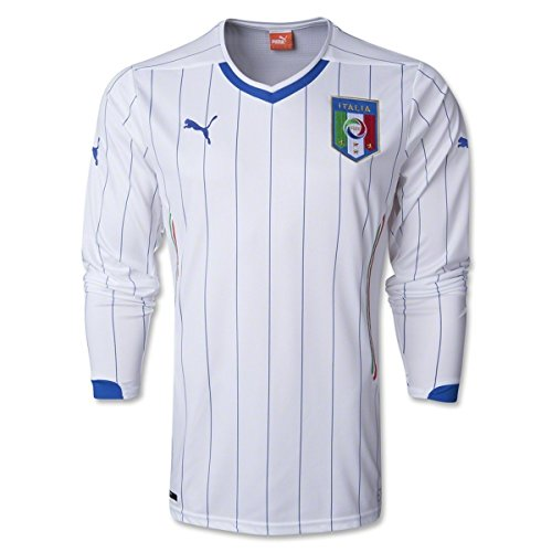 PUMA Men's Figc Italia Away L/S Shirt Replica White T-Shirt (2006 Italy World Cup)