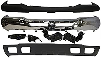 Bumper Cover Kit Compatible with CHEVROLET Avalanche 2002-2006//Silverado 2003-2007 Front Set of 3 Valance Bumper and