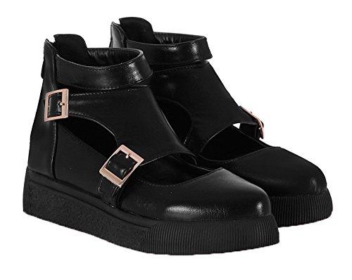 Amoonyfashion Damesgesp Pu Rond Gesloten Teen Lage Hakken Stevige Pumps-schoenen Zwart