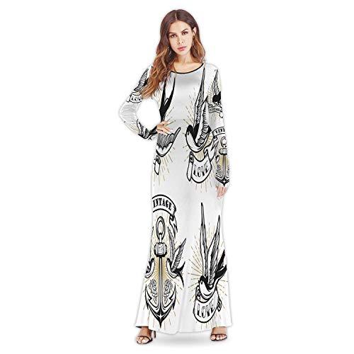 C COABALLA Oriental Motif Flowers ImitationFashion Custom Lady Dress Elegant Casual Dresses,a73792for Party Wedding,M