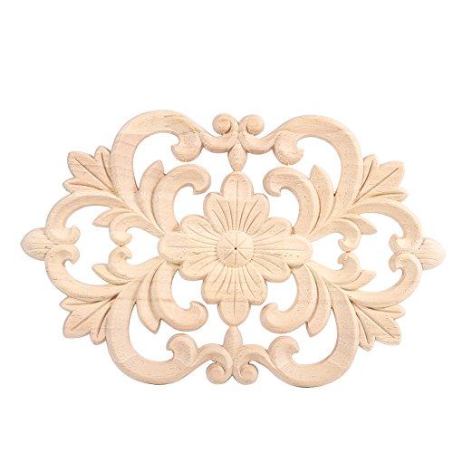 Carved Wood Trim - Fdit Corner Onlay Decoration European Style Wood Carved Furniture Applique Unpainted Furniture for Home Door Cabinet (2214CM)