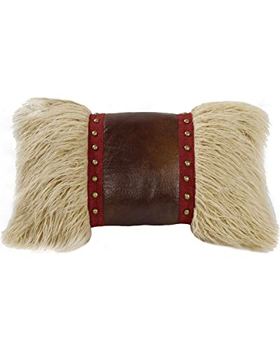 Hiend Accents Mongolian Fur Pillow with Faux Leather and Studs Multi