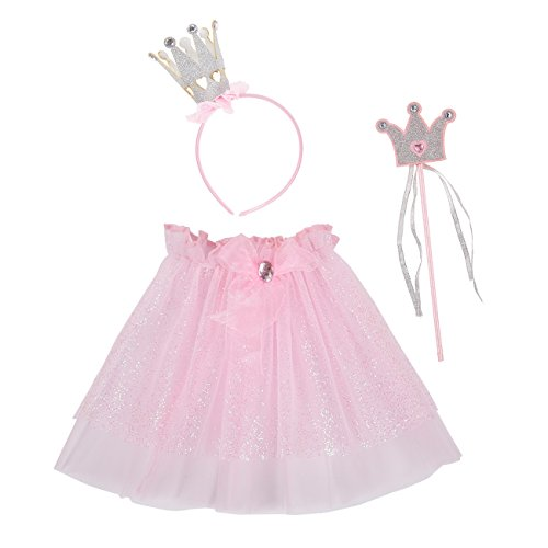 Blue Panda Princess Dress Up - 3-Pack Fairy Princess Kids Halloween Costume Accessories for Kids, Includes Wand, Headband, Tutu, Ages 3 and -