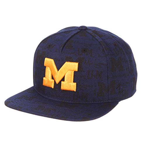 Zephyr NCAA Michigan Wolverines Men's Manic Snapback Hat, Adjustable, Navy