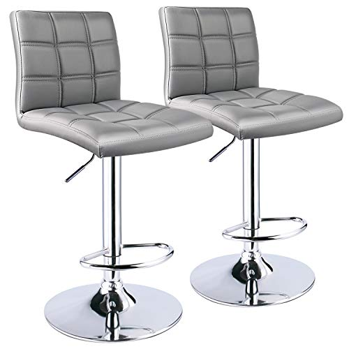 - Leopard Square Back Adjustable Bar Stool, Set of 2, Light Grey