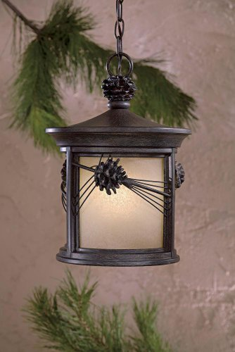Minka Great Outdoors 9154-A357-PL Abbey Lane - One Light Outdoor Chain Hung Lantern, Iron Oxide Finish with French Scavo Glass ()