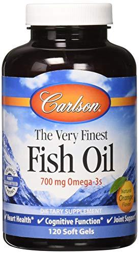 Carlson Norwegian The Very Finest Fish Oil, Orange, 700 mg Omega-3s, 120 Soft Gels