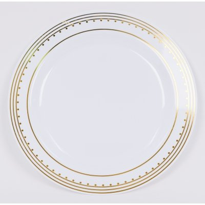 EZW6061 - EZWare Dishes Princess Gold Disposable Plastic Salad/Desert Plate