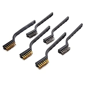 eBoot Mini Wire Brush Set for Cleaning Welding Slag and Rust, 6 Pack, Stainless Steel and Brass