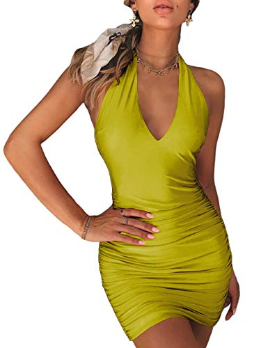 (NAFOUR Women's Halter Backless Bandage Dress Low Cut Ruched Bodycon Cocktail Club Mini Dress Apple Green)