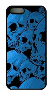 Iphone 5/5s Case Metallic Skull, DIY PC Black Sides Skin Protected Case of Cecilydreaming