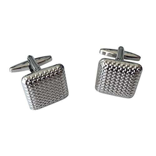 Textured Silver Square Men's Stainless Steel Cufflinks with Black Velvet Gift Bag by (Steel Square Cufflinks)