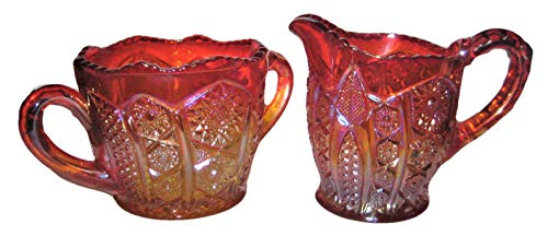 Vintage Marigold Iridescent Carnival Glass Open Sugar Bowl & Creamer Set