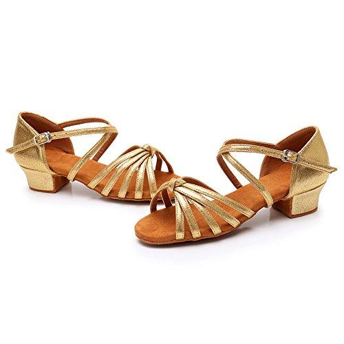 Performance LP Girl's Shoes Satin Dance Kids Little Ballroom Salsa Latin Dance for 203 HROYL Shoes Big Gold 0wT6qdq