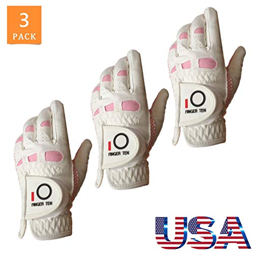 FINGER TEN Golf Gloves Women s Ladies Left Hand or Right Handed Grip Weathersof Value 3 Pack, Fit Size Medium Small Large Pro Design