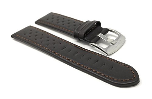 (Vented Racer Genuine Leather Watch Strap Band, with Stainless Steel Buckle, 18-24mm, Comes in Many Colors (22mm, Brown))