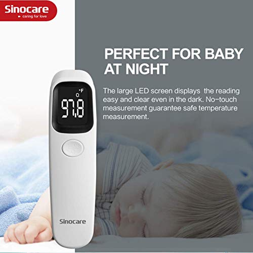 Sinocare No-Touch Forehead Thermometer for Adults and Kids, Medical Digital Infrared Thermometer for Fever with Alarm and Memory Function,Instant Accurate Reading for Baby 5.4 in