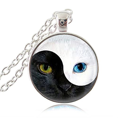 Yin Yang Cat Necklace Magic Animal Pendant Ying Yang Cat Eye Jewelry Glass Cabochon Pendant Silver Chain (Cats Eye Jewellery)