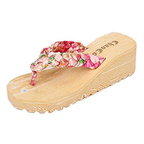 Transer 2017 1Pair Las mujeres del verano de Bohemia dulce fracasos de tirón sandalias clip del dedo del pie zapatos de playa de las sandalias Rojo