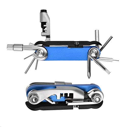 (Bicycle Multi Tool with Chain Splitter Cutter Breaker, 16 in 1 Bike Repair Tool Kits Set with 1pc Detachable Tire Lever, Blue)
