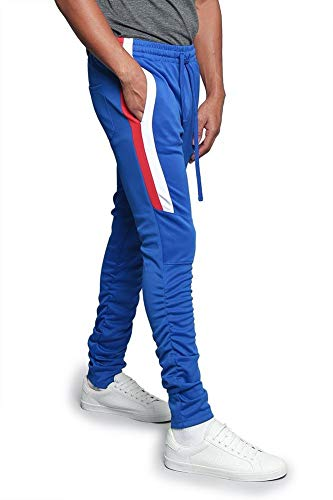 Men's Scrunched Bungee Calf Sectional Outer Side Stripe Tonal Drawstring Premium Track Pants TR546 - Royal Blue - 5X-Large - -