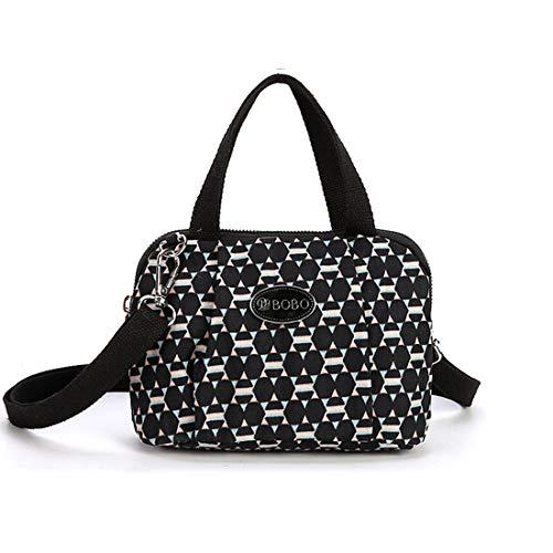 Bowler Small Handbag (Crossbody Purse Bags for Women Top Handle Bowler Handbag Travel Shoulder Bag Totes Satchel Bag Nylon Shell Bag (Black Lattice))