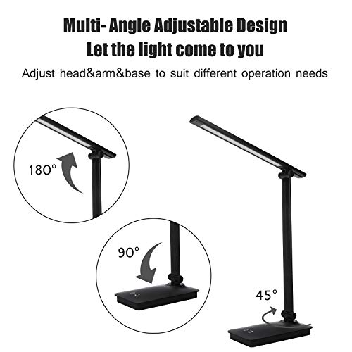 CweTrip Dimmable LED Desk Lamp with Built-in 1800mAh Rechargeable Battery, 3 Lighting Modes, 5-Level Dimmer, Touch Control, Memory Function, 6W, 5V 1A USB Charging Port, Black