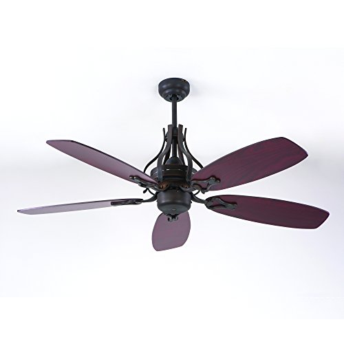 Yosemite Home Decor WASHBURN-ORB-NLK 52-Inch Ceiling Fan in Oil Rubbed Bronze Finish with 80-Inch Lead Wire, Oil Rubbed Bronze For Sale