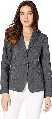 (Tahari by ASL Women's Novetly Stripe One-Button Jacket Navy/White 4)