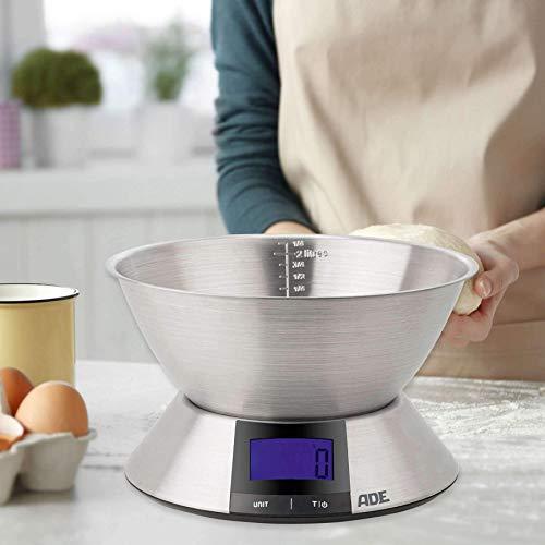 ADE Báscula Digital de cocina. KE1702 Hanna. Pesa hasta 5Kg y líquidos. Electrónica con cuenco en acero inoxidable. Color Plata: Amazon.es
