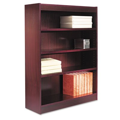 - Alera BCS44836MY Square Corner Wood Veneer Bookcase, Four-Shelf, 35-5/8 x 11-3/4 x 48-Inch, Mahogany