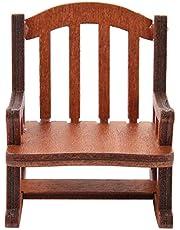 Modern Fabric Rocking Chair, Dollhouse Furniture Sturdy Miniature Rocking Chair for Home