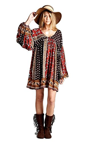 Velzera Patch Print Baby Doll Tunic Dress Boho Chic Plus Size (2X, Brown)