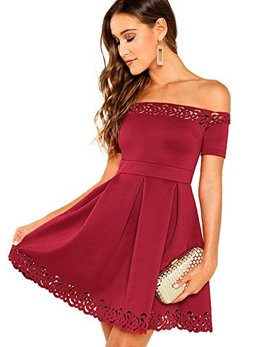Verdusa Women's Off Shoulder Laser Cut Fit & Flare Swing Skater Dress Burgundy -