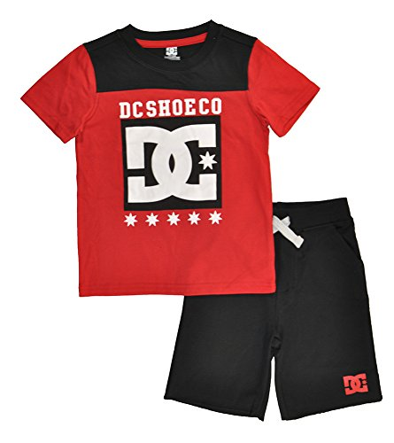 DC Apparel Little Boys 2 Piece Jersey Logo Tee with French Terry Short Set, Red, (French Terry Logo Short)