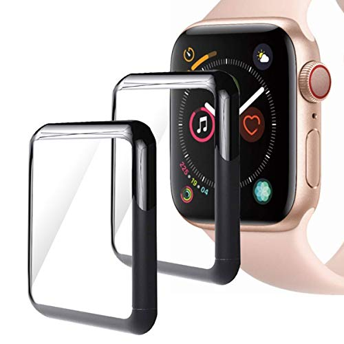 Moresky Compatible with Apple Watch Screen Protector 44mm Series 4 Tempered Glass, [3D Curved Edge] [Full Coverage] (2 Pack, Black)