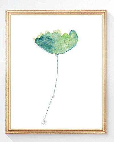 Aqua Tulip Print, 8x10 Watercolor, UNFRAMED
