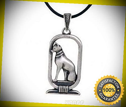 KARPP Ancient Egyptian Pewter Bastet Ubasti Cat Goddess Medallion Pendant Necklace Perfect Indoor Collectible Figurines