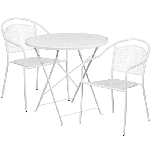 MFO 30'' Round White Indoor-Outdoor Steel Folding Patio Table Set with 2 Round Back Chairs