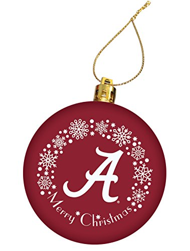 University of Alabama Holiday Christmas Ornament, Design 3 - Burgundy (Ideas Alabama Wreath)