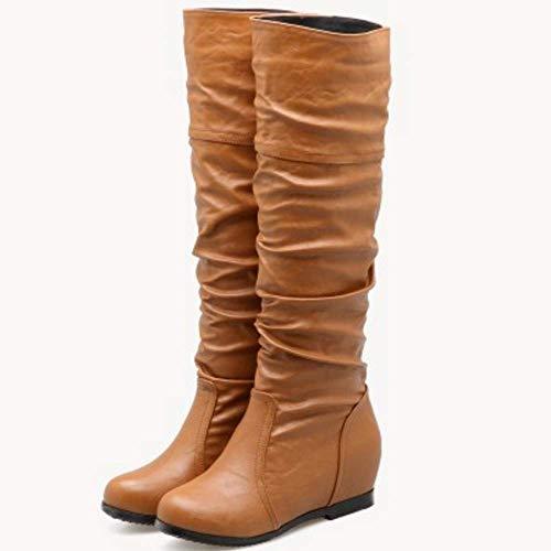 Talons Chaussures Longue Hiver h Coolcept Élégant Chaudes Compensé Femmes Bottes Jaune Automne Slouchy wOzZOYXq