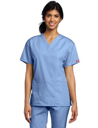 Dickies Scrubs Women's Classic V-neck Top, Ceil Blue, Medium